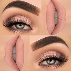 Nude eye makeup, nude lip color - LadyStyle
