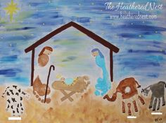 Heathered Nest Handprint/Footprint Christmas Nativity Art Canvas http://www.heatherednest.com/2014/11/spirit-fingers.html