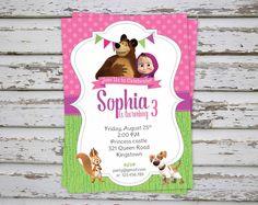 Masha and The Bear Birthday Party Invitation Printable, Masha i Medved, Masha y el Oso, Orso, Masha et Michka PRINTABLE (ANY LANGUAGE)