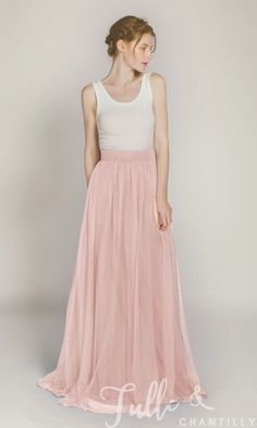 Long Tulle Bridesmaid Dress with Ivory Top TBQP335 click for 40+ colors