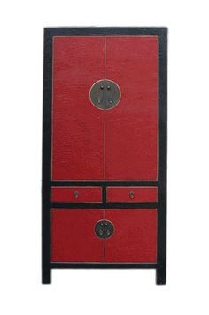 Chinese Red & Black Silk Lacquer Armorie Wardrobe Cabinet - Golden Lotus…