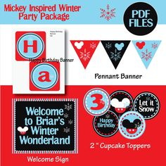 Mickey Mouse birthday party winter birthday party DIY snowflake winter wonderland Party Decorations. $35.00, via Etsy.