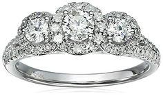 14k White Gold Diamond 3-Stone Round Halo Frame Engagement Ring (1cttw, H-I Color, I1-I2 Clarity), Size 7