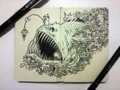 MOLESKINE DOODLES: Angry Angler by kerbyrosanes on DeviantArt
