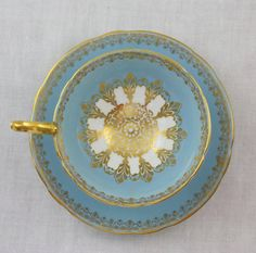 Aynsley England Blue and Gold Bone China Tea Cup and Saucer Set