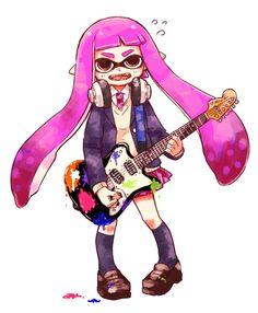 「ギターボーカル女子高生イカガール」/「まつだひかり」のイラスト [pixiv] #Inkling