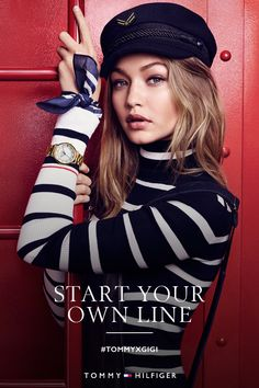 Gigi Hadid Unexpected takes our favorite pattern make the TOMMYXGIGI collection power player material. Estilo Gigi Hadid, Gigi Hadid Style, Nautical Outfits, Nautical Fashion, Kendall Jenner, Gigi Hadid Outfits, Gigi Hadid Photoshoot, Mode Editorials, Outfits With Hats