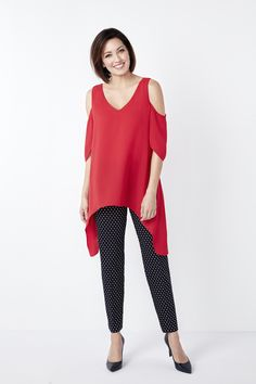 Add some length and dimension to your wardrobe with this tunic blouse. Chiffon drapes over elegantly to hide the imperfections so you can stay confident all day lon Tunic Blouse, Im Not Perfect, Cold Shoulder, Chiffon, Red, Tops, Women, Fashion, I'm Not Perfect
