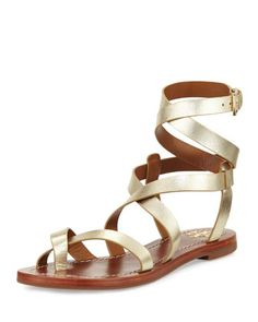 Patos+Crisscross+Flat+Gladiator+Sandal,+Gold+by+Tory+Burch+at+Neiman+Marcus.