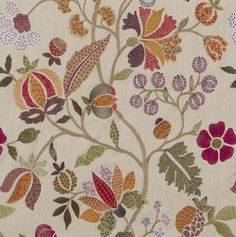 Wilderness Fabric A beautifully detailed trailing floral design, embroidered in multi-coloured thread on a linen ground.