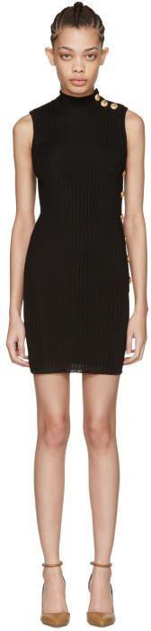 Balmain Black Sleeveless Turtleneck Dress