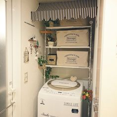 洗濯機周りっぽくなくしたい/2016,12,19/ダイソーコットンリボン/毎日の洗濯を少しでも楽しく♪…などのインテリア実例 - 2016-12-20 00:01:41 | RoomClip(ルームクリップ)