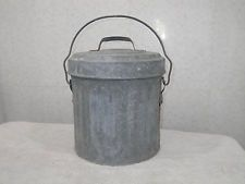 Vintage Galvanized Steel Bucket Pail With Lid 2 Gallon Solid NICE