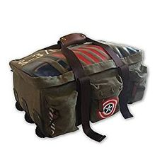 Amazon.com : Captain America Vintage Military Duffel Bag Made of Rugged Cotton Canvas Mounted on Wheels with Exterior Zip Pockets, Carry Straps with Double-Snap Tab, Detailed with Captain America Patch : Sports & Outdoors
