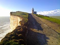 Clear weather on South Downs Way at Beachy Head, near Belle Tout Lighthouse - East Sussex, England, UK