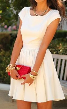 Cream color mini dress, gold bracelets and red purse inspiration | Fashion and styles