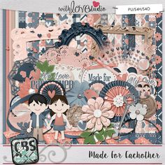 Made For Eachother  digital scrapbooking kit from Creations By  Samantha. Fun full of love inspired elements perfect to document your love to your significant other.