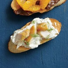 Smoked Trout and Dill Cream Bruschetta | Cooking Light December 2014 | probably try with smoked salmon Appetizer Dishes, Easy Appetizer Recipes, Snack Recipes, Appetizers, Cooking Recipes, Snacks, Smoked Trout, Smoked Salmon, Last Minute Appetizer