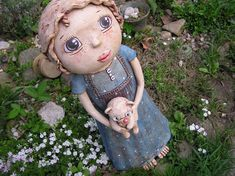 krása... Paper Mache, Garden Sculpture, Clay, Dolls, Outdoor Decor, Home Decor, Funny, Pottery, Characters