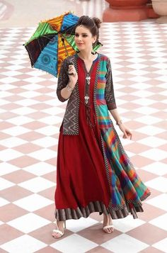 Muslin/silky cotton Kurti with beautiful detailing. Gypsy Dresses, Indian Dresses, Indian Outfits, Stylish Dress Designs, Stylish Dresses, Casual Dresses, Long Denim Dress, Kurti Embroidery Design, Boho Fashion