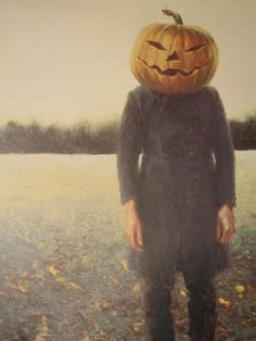 Pumpkinhead - Self-Portrait, 1972.  James Wyeth (1946- ) Born in Pennsylvania and is the son of the famous painter, Andrew Wyeth and grandson of another famous painter, N.C. Wyeth. He is known as part of the 'Brandywine Tradition' which is a group of painters who worked in the countryside of Delaware and Pennsylvania. He has been influenced by the methods and styles of his family as well as the Flemish and Dutch masters. He was also influenced by Winslow Homer and Thomas Eakins.