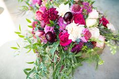 Burgundy and blush dahlias, Italian ruscus, scabiosa, ranunculus and other supporting colors make this bridal bouquet pop photo: Eden and Archer Photography flowers: Hello Buttercup Flowers Dahlias, Ranunculus, Growing Flowers, Cut Flowers, Italian Ruscus, Pop Photos, Photography Flowers, Flower Farm, Buttercup