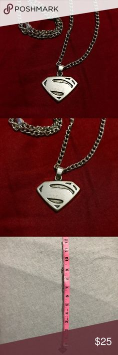 Vintage Superman Chain Necklace Vintage Superman chain logo Necklace. Superhero. DC Comics. Metal is distressed on purpose. (I guess it is a style to look fake worn). Never used. DC Comics Jewelry Necklaces