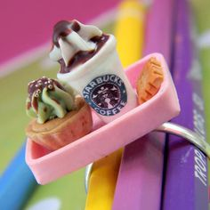 Starbucks and Cupcake tray ring by LulouLulou on Etsy, $12.00