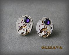 Steampunk Stud Earrings with  Vintage Mechanical Watch by Olisava