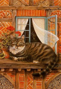 Cat in the window painting. Lesley Anne Ivory - The Cat of the House