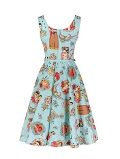 Walkingon #Vintage #Sleeveless #Floral #Print Swing Casual #Rockabilly #Dresses