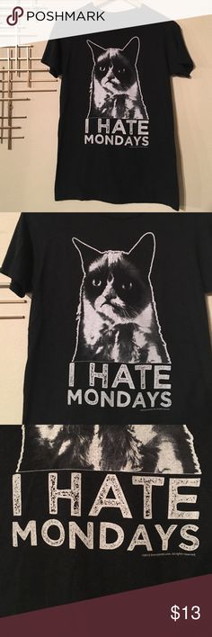 "Grumpy Cat I hate Mondays soft dark gray tee M Don't we all? Grumpy cat is the modern day Garfield. Let the world know how you feel by sporting this soft tee and let them keep their distance 😼 vguc underarm to underarm 17"", shoulder to hem 28"" official grumpy cat merch grumpy cat Tops Tees - Short Sleeve"