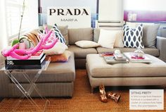 I have wanted that PRADA Marfa sign ever since I saw it on Gossip Girl. Me too! & love that rug.