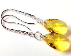 Yellow Swarovski crystal sterling silver by Emmalishop Swarovski Crystal Earrings, Dangle Earrings, Dangles, Buy And Sell, Sterling Silver, Yellow, Bracelets, Handmade, Stuff To Buy