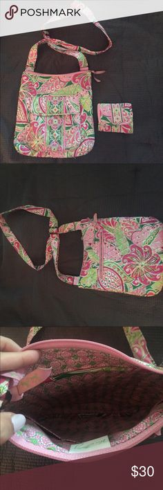 Vera Bradley messenger bag and matching wallet!  This bag is in perfect condition! The colors are pink, light green and a darker green, making it perfect for summer! ☀️It has 2 external pockets and 3 internal pockets. It also has a nice adjustable strap! This bag can be used for everything!! Vera Bradley Bags Crossbody Bags