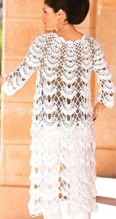 Пальто в ажуре | Вязание для женщин | Вязание спицами и крючком. Схемы вязания.