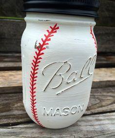 Hand Painted Mason Jar Bank Baseball Theme by MonisMasonCreations Wine Bottle Crafts, Mason Jar Crafts, Mason Jar Diy, Mason Jar Bank, Quart Size Mason Jars, Craft Gifts, Diy Gifts, Diy Holiday Gifts, Birthday Gifts For Boys