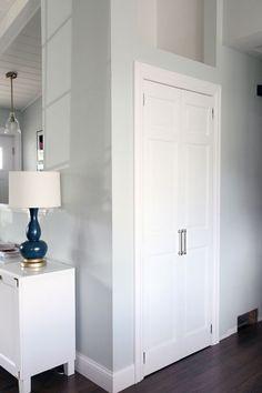 IHeart Organizing: Closing off the Coat Closet: From Bi-fold Door to Hinged Swing Door hallway closet organization Home, Hallway Closet, Bifold Doors, Bifold Closet Doors, Entry Closet, French Closet Doors, Diy Door, Folding Doors, Front Closet