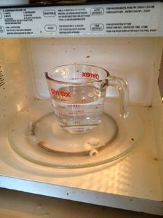 Clean Microwave 1 1/2 cup water and 1/2 cup vinegar for 5 minutes **hot**