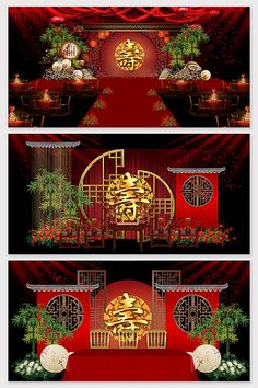 Chinese New Year Decorations, New Years Decorations, Stage Background, Wedding Background, Baby Birthday Themes, Wedding Stage Design, Chinese Design, Beach Wedding Decorations, 3d Models