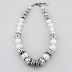 Wild Heart Collection - Lustrous white shell pearl and silver bead necklace accentuated with smooth burnished silver rings Silver Bead Necklace, Beaded Choker, Silver Jewelry, Silver Rings, Beaded Bracelets, Necklaces, Jewelry Design, Designer Jewellery, Silver Pearls