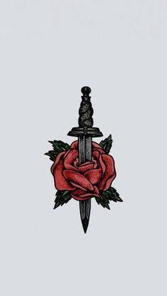 Plain Wallpaper, Dark Wallpaper, Wallpaper Backgrounds, Larry Stylinson, Larry Tattoos, Rose And Dagger Tattoo, One Direction Tattoos, Desenho Tattoo, Louis Tomlinson