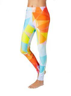 Orange and Blue Geometric Print Leggings, long lasting, sweatshop free, eco-poly fabrics