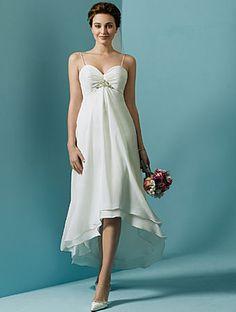 Wholesale High Quality One-Piece Modest Discount White Spaghetti Straps Empire Waist Beach Wedding Dresses fw010