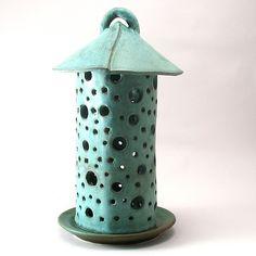 Green Garden Lantern: Cheryl Wolff: Ceramic Candleholder - Artful Home