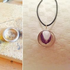 Transformation of an old silver ring to a necklace with ametist