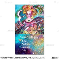 TAROTS OF THE LOST SHADOWS / THE MOON LADY IN BLUE Double-Sided STANDARD BUSINESS CARDS (Pack OF 100)