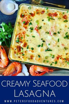 Easy Seafood Lasagna is made with mushroom soup, white wine, shrimp, scallops and imitation crab. Rich and creamy family dinner favorite. Seafood Lasagna Recipes, Seafood Dishes, Pasta Dishes, Seafood Platter, Seafood Appetizers, Fish Dishes, Shrimp Lasagna, Seafood Casserole Recipes, Seafood Gumbo