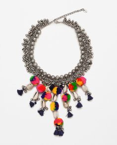 COLORFUL POMPOM AND BEAD NECKLACE-Jewellery-ACCESSORIES-WOMAN | ZARA United States