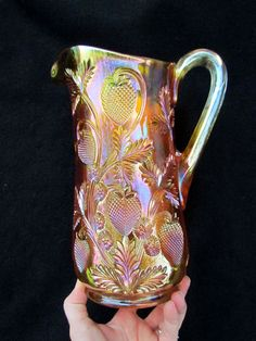 Inverted Strawberry Water Pitcher Marigold w Pinks Cambridge Carnival Glass